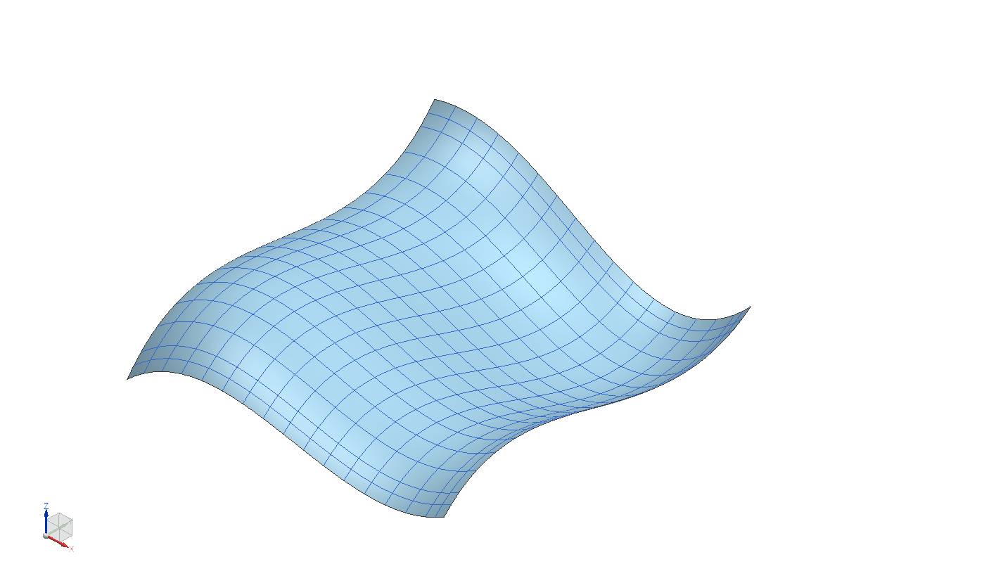 Figure 1. Boundary representation model of a surface showing U and V curves.