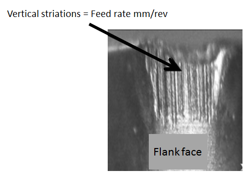 The image below shows clearly the extensive scaring on the flank face of the cutting tool